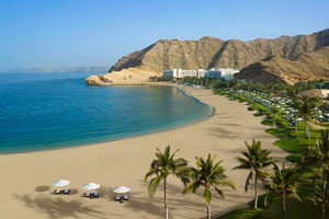 The marvelous beach of a hotel in the north of Oman.