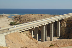 The coastal highway at Qalhat, near Sur, in northern Oman.