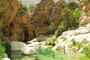 A natural pool in the Wadi Tiwi.